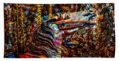 Beach Towel featuring the photograph Riding A Carousel In My Colorful Dream by Michael Arend