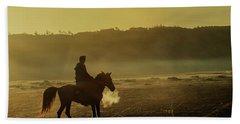 Riding His Horse Beach Towel