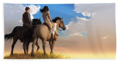 Riding Off Into The Sunset Beach Towel