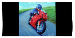 Riding The Highlands - Ducati 999 Beach Towel