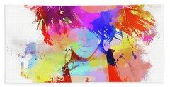 Rihanna Paint Splatter Beach Sheet by Dan Sproul