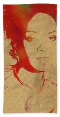 Rihanna Watercolor Portrait Beach Sheet by Design Turnpike