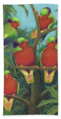 Rimatara Lorikeets Beach Towel