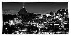 Rio De Janeiro - Christ The Redeemer On Corcovado, Mountains And Slums Beach Sheet