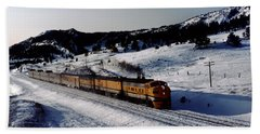 Rio Grande Zephyr Trainset In The Snow, Plainview Colorado, 1983 Beach Towel