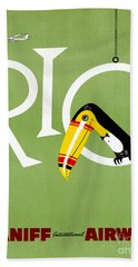 Rio Vintage Travel Poster Restored Beach Towel