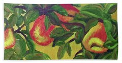 Beach Towel featuring the painting Ripe Pears On The Tree by Margaret Harmon