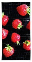 Ripe Strawberries On Back Plate Beach Towel