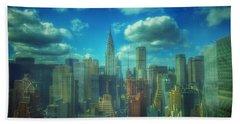 Rise And Shine - Chrysler Building New York Beach Sheet by Miriam Danar