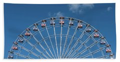 Rise Up Ferris Wheel In The Clouds Seaside Nj Beach Towel by Terry DeLuco