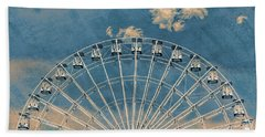 Rise Up Ferris Wheel In The Clouds Beach Towel by Terry DeLuco