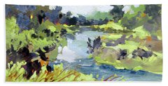 Beach Towel featuring the painting River Bend by Rae Andrews