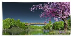 River Bridge Cherry Tree Blosson Beach Sheet by Walter Colvin