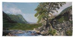 River Coe Scotland Oil On Canvas Beach Towel