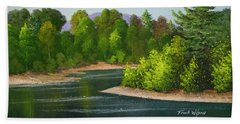 Beach Towel featuring the painting River Confluence by Frank Wilson