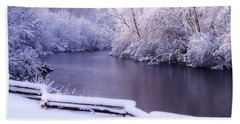 River In Winter Beach Towel by Phil Perkins