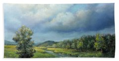 Beach Towel featuring the painting River Landscape Spring After The Rain by Katalin Luczay