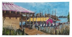Beach Sheet featuring the painting River Marina by Jim Phillips