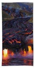 River Of Fire - Kilauea Volcano Eruption Lava Flow Hawaii Contemporary Landscape Decor Beach Towel