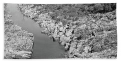 River On The Rocks. Bw Version Beach Towel
