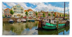 River Scene In Rotterdam Beach Sheet by Venetia Featherstone-Witty