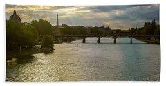 River Seine At Dusk Beach Sheet