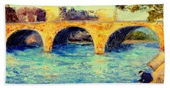 River Seine Bridge Beach Towel by Gail Kirtz