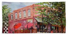 Beach Towel featuring the painting River Street Tavern-ellijay, Ga - Cheers by Jan Dappen
