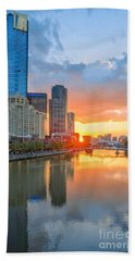 Beach Towel featuring the photograph River Sunset by Ray Warren