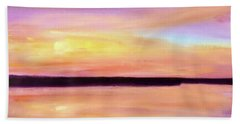 Beach Towel featuring the painting River Sunset by Valerie Anne Kelly