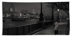 River Thames Embankment, London Beach Towel