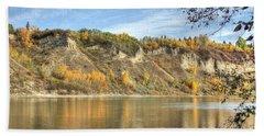 Riverbank In Autumn Beach Towel