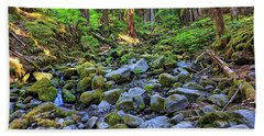 Riverbed Full Of Mossy Stones With Small Cascade Beach Sheet