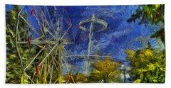 Riverfront Park - Pavilion And Ferris Wheel Beach Towel