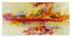 Beach Sheet featuring the painting Riverscape In Red....part 2 by Carolyn Rosenberger