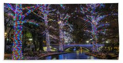 Beach Towel featuring the photograph Riverwalk Christmas by Steven Sparks