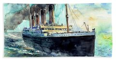 Rms Titanic White Star Line Ship Beach Towel