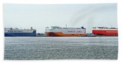 Beach Towel featuring the photograph Ro Ro Freighters Lined Up At Curtis Bay by Bill Swartwout Fine Art Photography