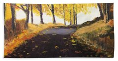Road In Autumn Beach Towel