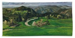 Road In The Mountains Beach Towel