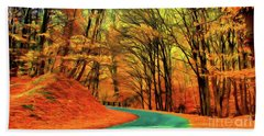 Beach Towel featuring the painting Road Leading Through The Autumn Woods by Odon Czintos
