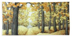 Road To Autumn Beach Towel by Inese Poga