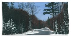 Road To Northport - Winter Beach Towel