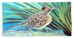 Beach Sheet featuring the pastel Roadrunner Fluffing Sold   Pastel by Antonia Citrino