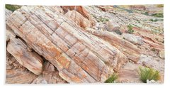 Beach Towel featuring the photograph Roadside Sandstone In Valley Of Fire by Ray Mathis