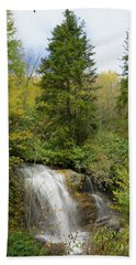 Beach Towel featuring the photograph Roadside Waterfall In North Carolina by Mike McGlothlen