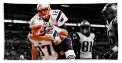 Rob Gronkowski And Tom Brady Beach Sheet by Brian Reaves