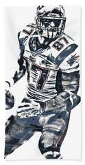 Rob Gronkowski New England Patriots Pixel Art 2 Beach Towel by Joe Hamilton