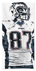 Rob Gronkowski New England Patriots Pixel Art 3 Beach Towel by Joe Hamilton