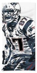 Rob Gronkowski New England Patriots Pixel Art 4 Beach Towel by Joe Hamilton